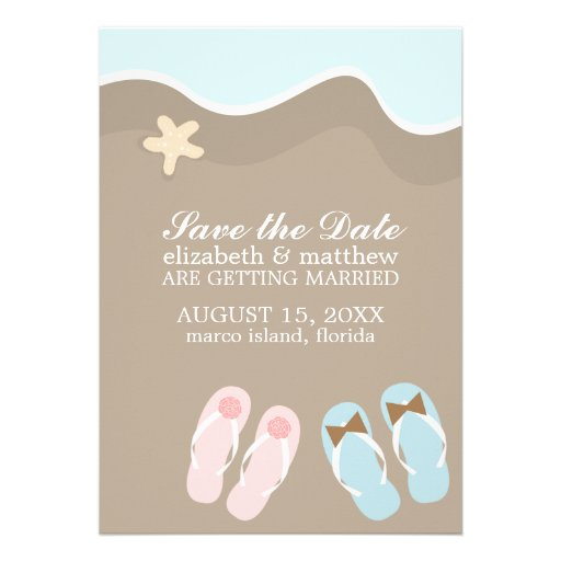 His And Hers Flip Flop Sandals Wedding 5 X 7 Invitation Card Za