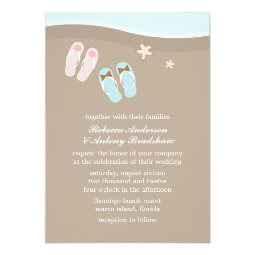 His and Hers Flip Flops Beach Wedding 5x7 Paper Invitation Card