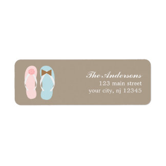 His and Hers Flip Flops Beach Wedding Label