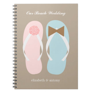 His and Hers Flip Flops Beach Wedding Planner Notebook