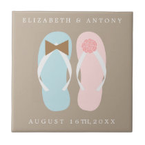 His and Hers Flip Flops Beach Wedding Tile