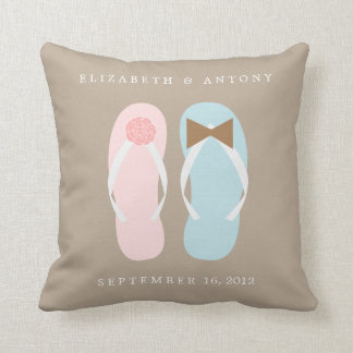 His and Hers Flip Flops Throw Pillows