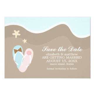 His and Hers Flip Flops Save the Date 5x7 Paper Invitation Card