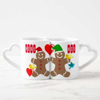 His and Hers Gingerbread Couple, hearts and birds Couples' Coffee Mug Set