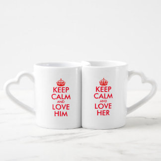 His and hers keep calm bride and groom lovers mugs
