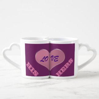 His and Hers LOVE MUGS PINK/PURPLE Couples' Coffee Mug Set