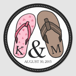 His and Hers Monogrammed Wedding Flip Flops Classic Round Sticker