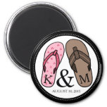 His and Hers Monogrammed Wedding Flip Flops 2 Inch Round Magnet