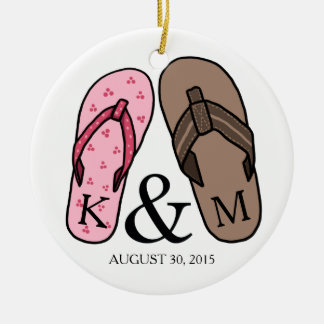 His and Hers Monogrammed Wedding Flip Flops Christmas Tree Ornaments