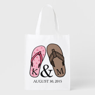 His and Hers Monogrammed Wedding Flip Flops Reusable Grocery Bags