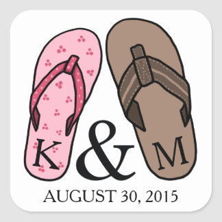 His and Hers Monogrammed Wedding Flip Flops Square Sticker