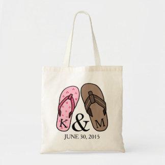 His and Hers Monogrammed Wedding Flip Flops Tote Bag
