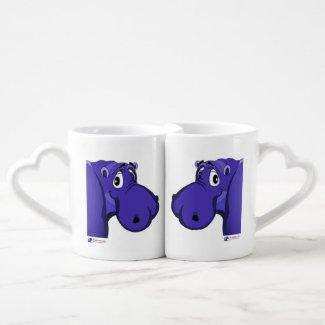 His and Hers Purple Hippo Mug Set
