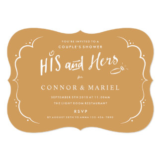 His and Hers Shower Invitation on Custom Color III