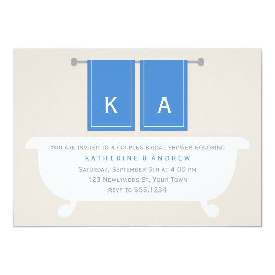 His and Hers Towels Bridal Shower {blue} Card