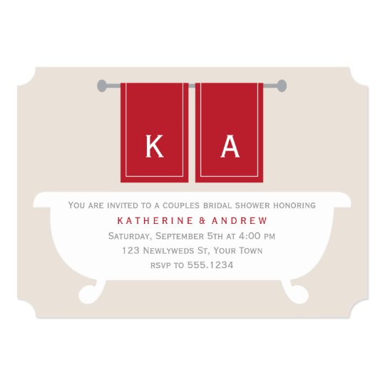 His Hers Wedding Invitations Templates: His And Hers Towels Bridal Shower {red} Invitation
