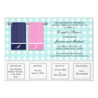 His and Hers Towels Modern Couples Shower Personalized Invitation