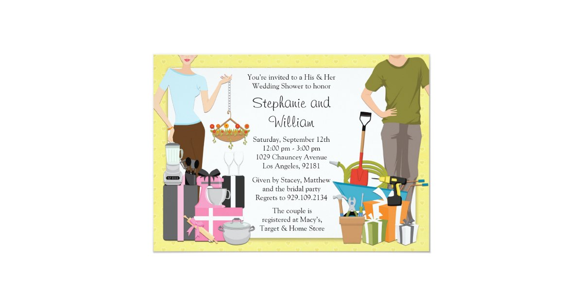 2ce9d9c6a21 His And Hers Wedding Shower Invitation Zazzle