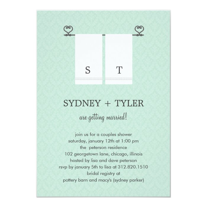 His Hers Wedding Invitations Templates: His And Hers Wedding Shower Invitation (Blue)