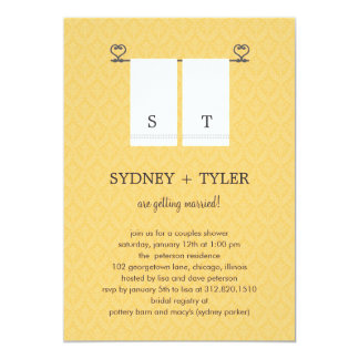 His and Hers Wedding Shower Invitation (Yellow)