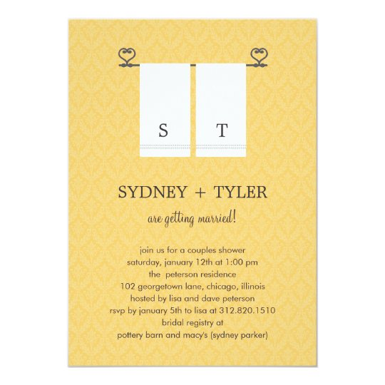 his and hers wedding shower invitation yellow