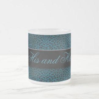 His and His Blue Cheetah Print Personalized Mug