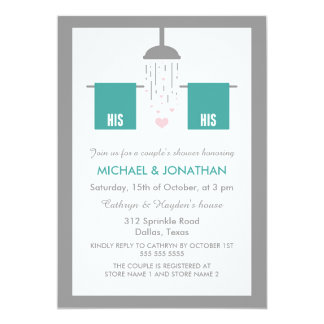 His and His | Gay Couple's Shower Card