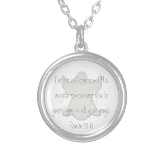 His angels to guard you bible verse Psalm 91:11 Round Pendant Necklace