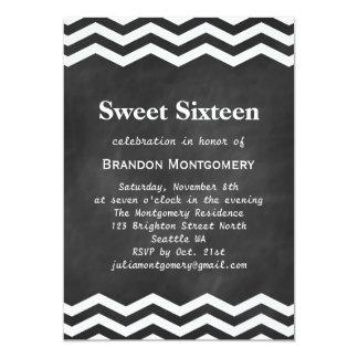 His Chalkboard & White Chevron Sweet 16 Invitation