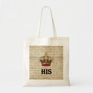 His(crown on vintage paper) tote bag