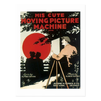 His Cute Moving Picture Machine Vintage Songbook Postcard