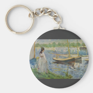 His embankment at Argenteuil by Edouard Manet Key Chain