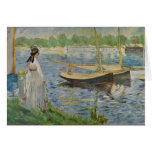 His embankment at Argenteuil by Edouard Manet Stationery Note Card