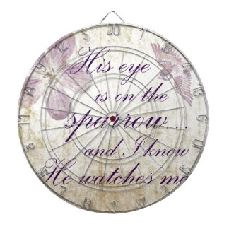 His Eye is on the Sparrow...Bible Verse Art Dart Board