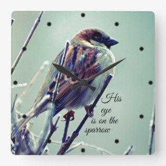 HIs eye is on the Sparrow Square Wallclocks