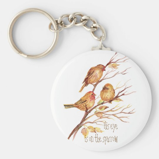 His eye is on the Sparrow, Inspiration, Bird Keychain