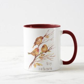 His eye is on the Sparrow, Inspiration, Bird Mug