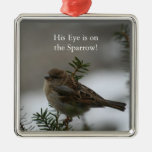 His eye is on the sparrow, pendant christmas tree ornaments