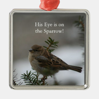 His eye is on the sparrow, pendant square metal christmas ornament