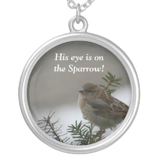 His eye is on the sparrow!  Silver necklace