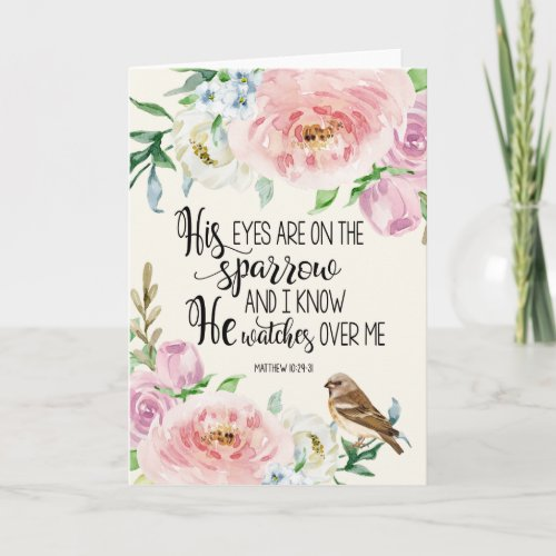 'His eyes are on the sparrow' Card