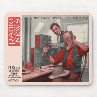 """His First Wireless Message"" Mousepads"