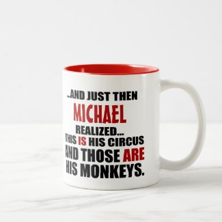 (His) Funny Personalized Circus Monkeys Two-Tone Coffee Mug