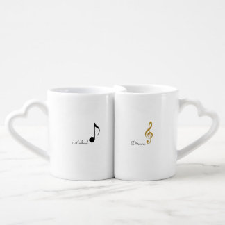 his + Her   Mr. + Mrs. musical notes personalized Couples Coffee Mug