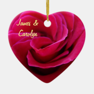 His Her Name ornaments Pink Rose Wedding Date