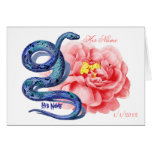 His Her Snake Rose Personalize Wedding Thank You Greeting Card