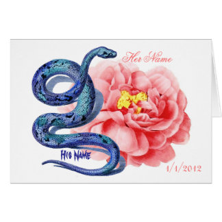 His Her Snake Rose Personalize Wedding Thank You Card