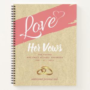 His Her Wedding Vows Journal Keepsake Book rustic