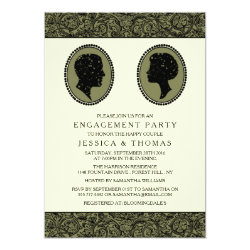 His & Hers Art Deco Silhouette Engagement Party Card
