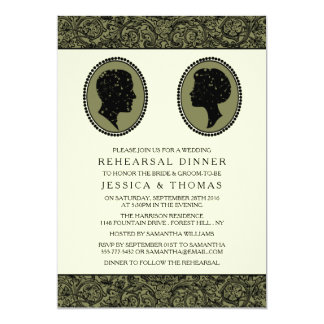 His & Hers Art Deco Silhouette Rehearsal Dinner Card
